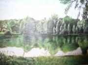 tableau paysages beauce etang calme : etang en Beauce