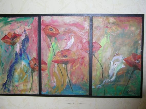 TABLEAU PEINTURE champ de coquelicots Fleurs Peinture a l'huile  - triptique