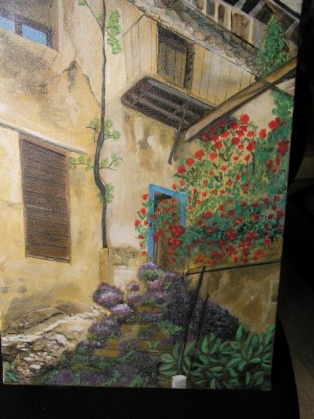 TABLEAU PEINTURE rue Villes Peinture a l'huile  - promenade en Ardeche