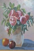 tableau fleurs : bouquet et pommes