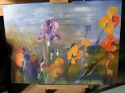 tableau fleurs iris dans les champs : iris