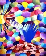 tableau autres gouache symbolisme realisme vitrail : Chemin vers la paix