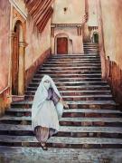 tableau villes gouache paysage ville ruelle : Casbah d'Alger 1