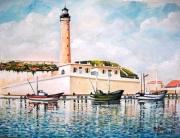 tableau paysages mer realisme aquarelle : Le phare de Cherchell