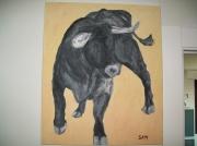 tableau animaux taureau animaux peinture corrida : El negro