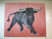 tableau animaux taureaux animaux corrida peinture : taurillon