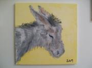 tableau animaux animaux ane ferme peinture : Grisouille