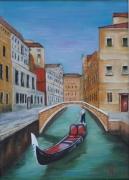 tableau paysages canal gondole pont venise : venise