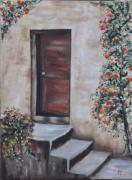 tableau paysages porte escalier ancien rosier : la porte