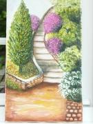 tableau paysages la provence l escalier arbres fleurs : la provence