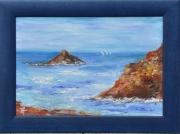 tableau marine marine rochers vagues sable : les rochers