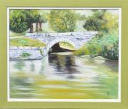 tableau paysages paysage le petit pont riviere reflet : le petit pont