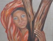tableau personnages femme orange tronc : farida