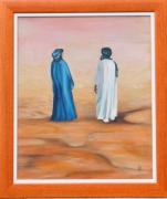 tableau personnages 2 touaregs desert bleu blanc : le 2 touaregs