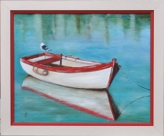 tableau marine marine barque mouette reflets : la barque