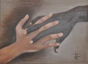 tableau nature morte mains noire blanche l amitie : les mains
