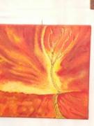tableau nature morte le feu jaune orange dore : le feu
