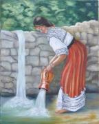 tableau personnages femme robe kabyle poterie : femme kabyle