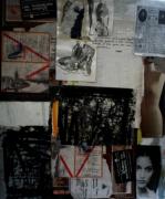 mixte abstrait collage monotype dessin graphique : collage