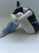 sculpture personnages danseuse repos bleu : relache