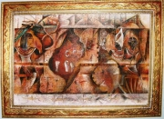 tableau abstrait basrelief collage colle de lapin gelacrylique : Nda-bot