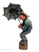 sculpture scene de genre pluie parapluie vent rain : Parapluie