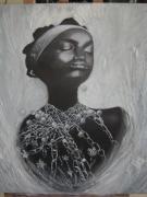 tableau personnages contemporains visage noir blanc : l'enchainée