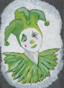 mixte personnages arlequin clown cirque fille : Arlequin Vert