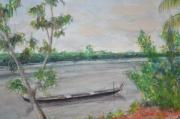 tableau paysages art aquarelle : couche de soleil