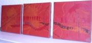 tableau abstrait tryptique design abstrait contemporan : Variation pour un ensemble d'oranges