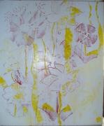 tableau fleurs blanc transparence rouge jaune : Allée de mon jardin
