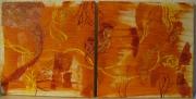 tableau abstrait abstrait fleurs decoration oranges : Abstrait d'oranges fleuries