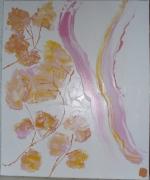 tableau fleurs acrylique automne fleurs simple : A la lumière d'une branche