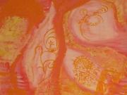 tableau fleurs abstrait fleurs pastelle rose : Fleurs de l'orient en gestation