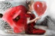 art numerique scene de genre enfant fleur coeur romantique : Rouge coeur