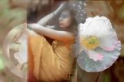 art numerique scene de genre fille fleur pensee romantique : Rêveries2
