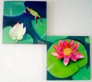 tableau animaux double toile nenuphar grenouille fleurs : Les nénuphars et la grenouille