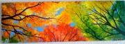 tableau fleurs feuille multicolore arbre : Feuillage