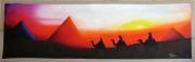 tableau paysages pyramide couche de soleil egypte chameau : Les Pyramides