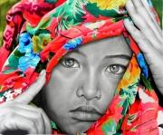 mixte personnages portrait enfant fillette couleurs : Tristesse colorée