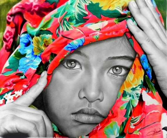 MIXTE portrait enfant fillette couleurs Personnages  - Tristesse colorée