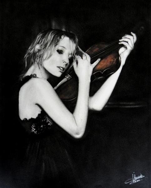 TABLEAU PEINTURE violoniste femme pastel graphite Personnages  - LA VIOLONISTE