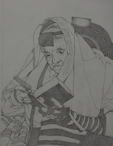 """TABLEAU PEINTURE portrait rabin prière religion Personnages Encre de Chine  - """"Sommes-nous éternels?"""
