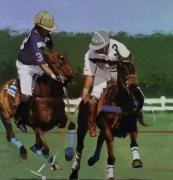"""tableau sport sport polo chevaux cavalier : """"The striker"""""""