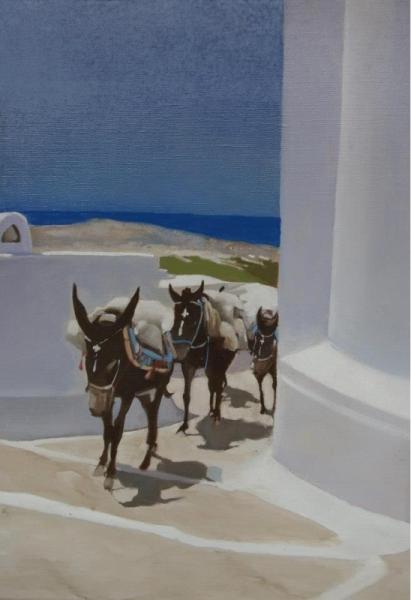 """TABLEAU PEINTURE animaux grèce voyages santorin Animaux Estampe  - """"Le rendez-vous annuelau banquet des anciens combattants&am"""