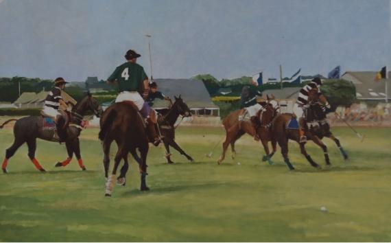 """TABLEAU PEINTURE Sport Polo Cheval Cavaliers Sport Peinture a l'huile  - """"Les derbys de La Baule"""""""