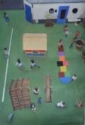 """tableau personnages enfants ecoles jeux vert : """"Mais où est donc Ornicar"""""""