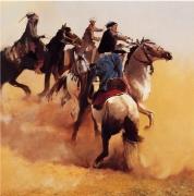 """tableau scene de genre cheval cavaliers mongolie voyages : """"La sphère de paix caucasienne"""""""