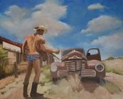 """tableau scene de genre amerique route 66 voyage homme : """"L'homme qui trouva midi à 14 heures"""""""
