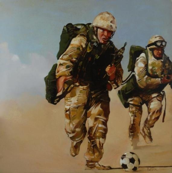 """TABLEAU PEINTURE militaires football G.I. guerre Personnages Peinture a l'huile  - """"La terrible épreuve de la mort subite"""""""